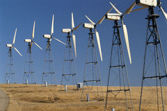 Row of wind turbines Royalty Free Stock Image