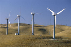 Row of wind turbines Royalty Free Stock Photo