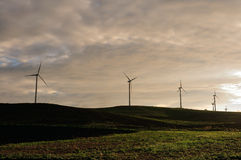 Row of wind turbines Stock Image