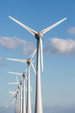 Row of wind turbines and blue sky Royalty Free Stock Photo