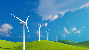 Row of wind turbines on green fields Royalty Free Stock Photography