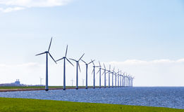 Row of wind turbines Royalty Free Stock Images