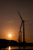 A row of wind turbines. Wind Turbines in the sunset Royalty Free Stock Photo