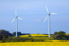 Row of wind turbines in Sweden Royalty Free Stock Photography