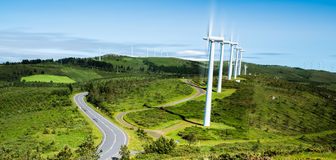 Row of wind turbines in a wind farm Royalty Free Stock Photography