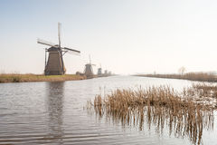 Row of windmills along the water Stock Photo