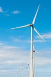 Row windmills in front of a blue sky. Vieuw on a row of windmills Stock Image