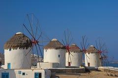 Row of windmills in Mykonos Stock Photos
