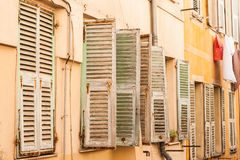 Row of window shutters. In old town nice, France Stock Image