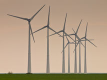 Row of windturbines. During sunset Royalty Free Stock Images