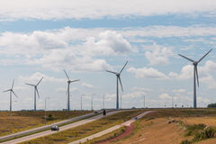 Row of windturbines in The Netherlands Royalty Free Stock Images