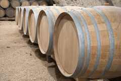 Row of wine barrels Stock Photo