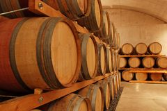 Row of wine barrels Stock Images