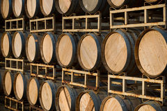 Row of wine barrels on stand Stock Photography