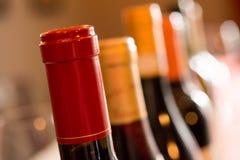 A Row of Wine Bottle Necks Royalty Free Stock Photos