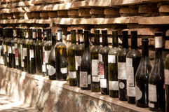 A row of wine bottles Stock Photo