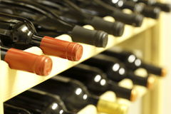 Row of wine bottles Royalty Free Stock Image