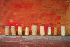 Row of wine corks Stock Photo
