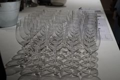 A row of wine glasses stock image