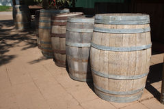 Row of wine tanks stand outdoor Royalty Free Stock Images