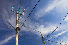 Row of wire pole Royalty Free Stock Photo