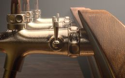 Beer Tap Row. A row of wood and brass draught beer taps on an isolated dark moody studio background - 3D render royalty free illustration