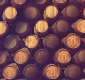 Row of wooden barrels of tawny portwine ( port wine ) in cellar, Porto, Portugal Stock Photo