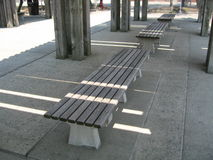 Row of wooden benches Royalty Free Stock Image