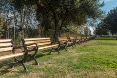 Row of wooden benches. Istanbul, Turkey stock images