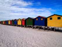 Row of wooden brightly colored huts Royalty Free Stock Photo