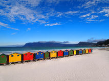 Row of wooden brightly colored huts Royalty Free Stock Photography