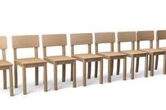Row of wooden chairs Stock Photography