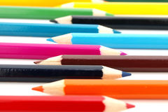 Row of wooden colour pencils Stock Image