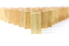Row wooden domino Stock Photo