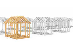 Row of Wooden Home Constructions Stock Photo