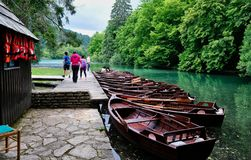 Wooden Row Boats, Plitvice National Park, Croatia. A row of wooden rental rowboats moored on Plitvice Lakes, Plitvice National Park, a UNESCO listed world Royalty Free Stock Images