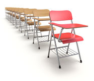 Row of wooden student chair Stock Photo