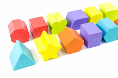 Row of wooden toy blocks Stock Photos