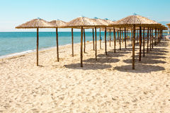 Row of wooden umbrellas at sandy beach, sea and blue sky Stock Photos