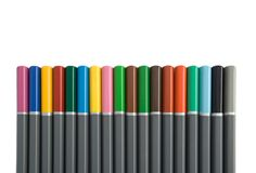 Row of Multi Coloured Pencils stock photo