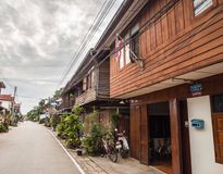 Row of wooden vintage house in Chiang Khan, Loei, Thailand Royalty Free Stock Image