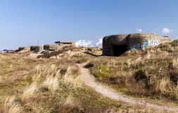 Row of WW2 bunkers Royalty Free Stock Images