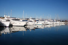 Row of yachts. At Anitbes harbour, French Riviera royalty free stock images
