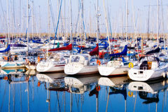 Row of yachts at Howth harbo in Dublin Stock Photography