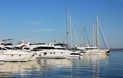 Row of yachts in marina Stock Image