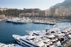 Row of yachts in Monaco Port Stock Image