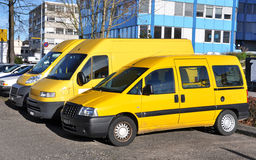 Row of yellow cars. Row of yellow service cars Stock Images