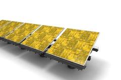 Row of yellow solar panels Stock Image