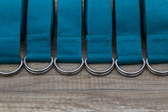 Row of yoga straps. Group of yoga straps in a row Stock Photo