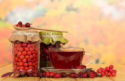 Rowan berries, wild rose and cup tea on   autumn leaves. Stock Photo